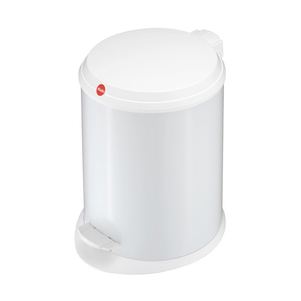 Hailo T1. Pedalspand 13 Liter Med Plastik Låg - Hvid