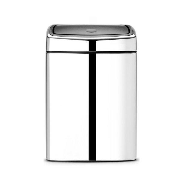 Brabantia Touch Bin Rektangulær Blank Stål 10 Liter - 477201