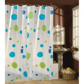 msv shower curtain blue lime circles incl hooks