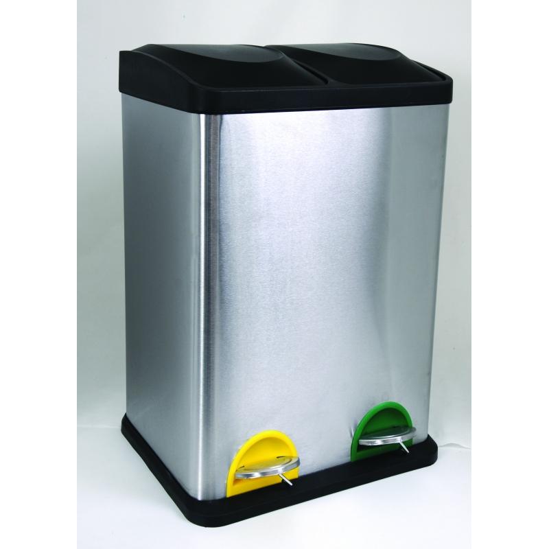 Msv svartering bin 2 x 20 liter matt steel - Poubelle recyclage cuisine ...