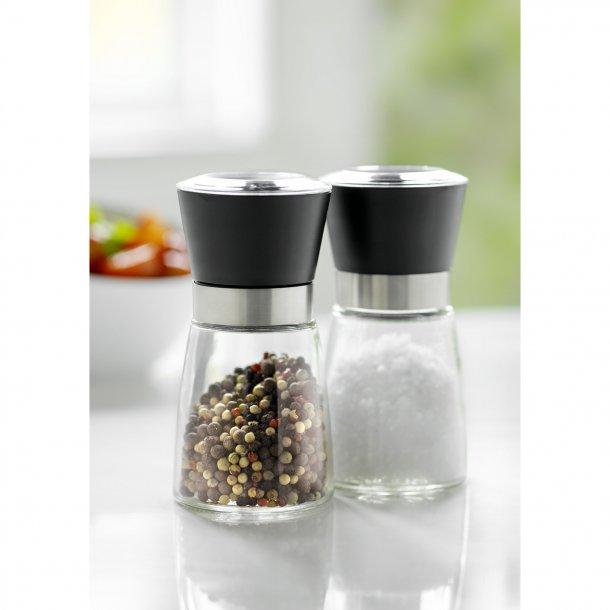 Stålfunktion Set 2 Salt / Pepper Grinder Svart Lågt Glas / Stål / Svart