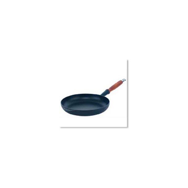 Le Creuset stegepande i mat sort m. træhåndtag 28 cm