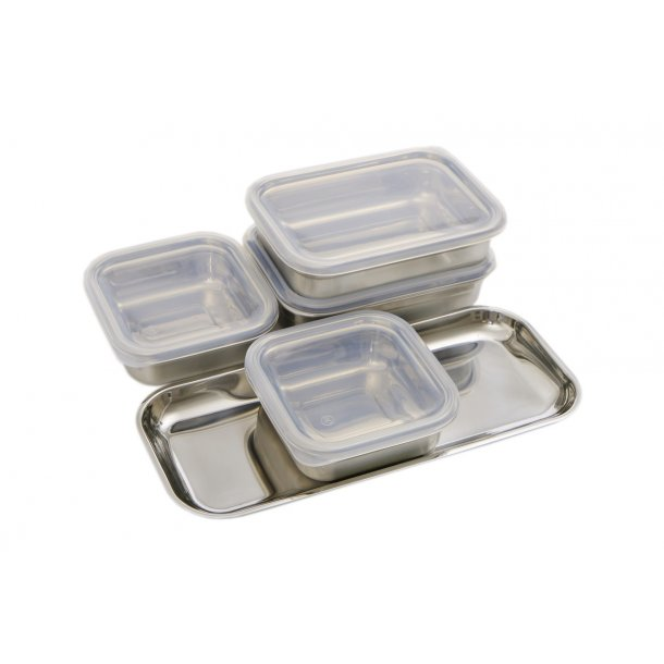 Professional Secrets Bowl Set, 4 Behållare Med Lock Och Bricka