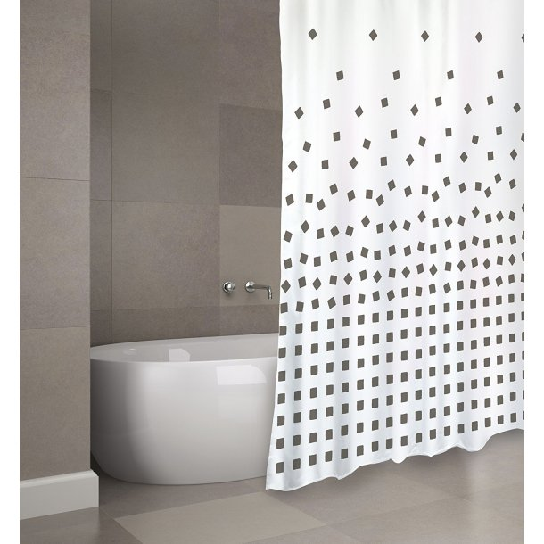 MSV Polyester Shower Curtain 180X200Cm Premium Thika Charcoal Grey