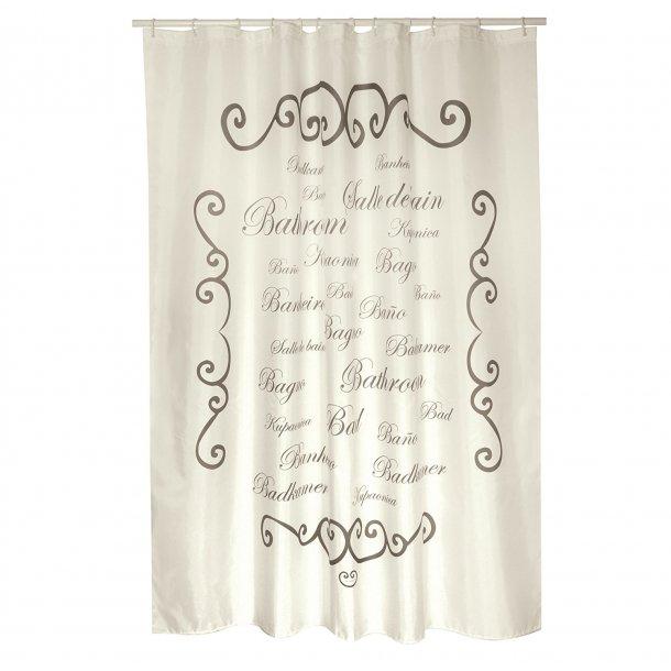 MSV Polyester Shower Curtain 180X200Cm Msv Premium Paris Cream