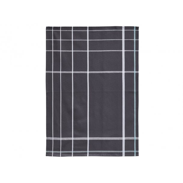 Zone Viskestykke 70 x 50 cm Dark Grey/Hvid - 100% bomuld