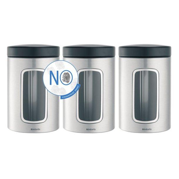 Brabantia 1,4 Liter Opbevaringsdåser med vindue sæt med 3 stk. FPP Stål - 335341
