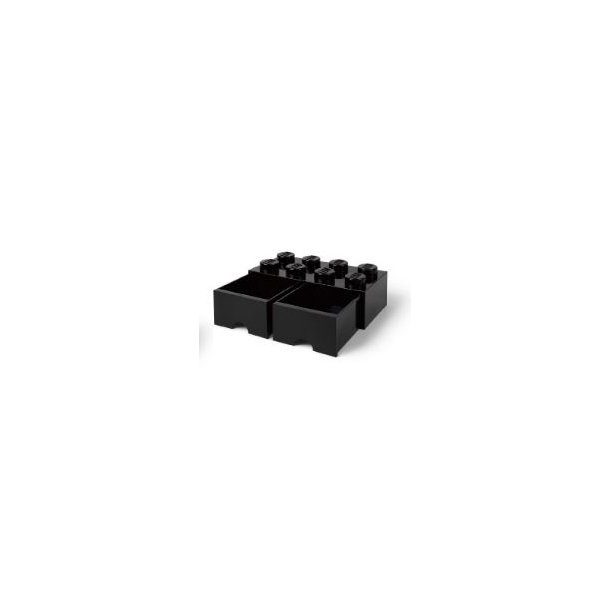 Lego Storage Block 8 with 2 drawers - Black