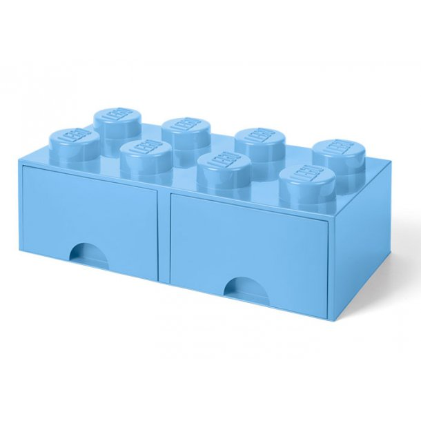 Lego Opbevaringsklods Med 2 Skuffer 8 Light Royal Blue