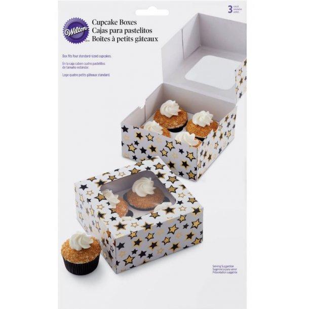 Cupcake Boks - hvid med stjerner 3 stk