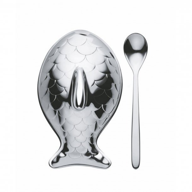 Alessi Colombina fish Saltcellar & Spoon