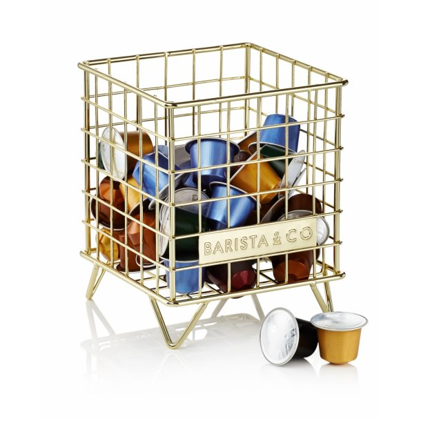 Barista & Co wire basket for capsule storage gold