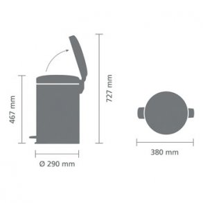 Brabantia Pedalspand newIcon 20 Liter Blank Stål