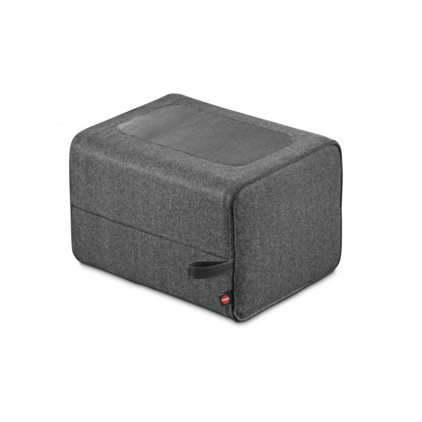 Hailo puf Q, grå filt / sort læder 1 trin