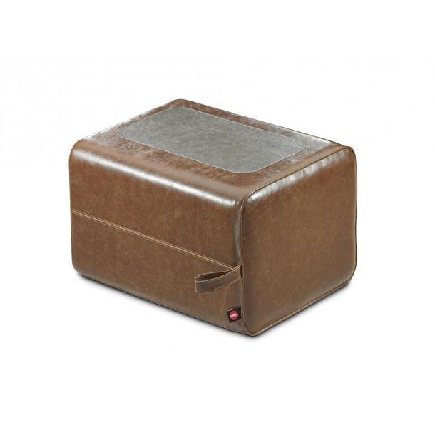 Hailo puf Q, brun / sort imiteret læder 1 trin