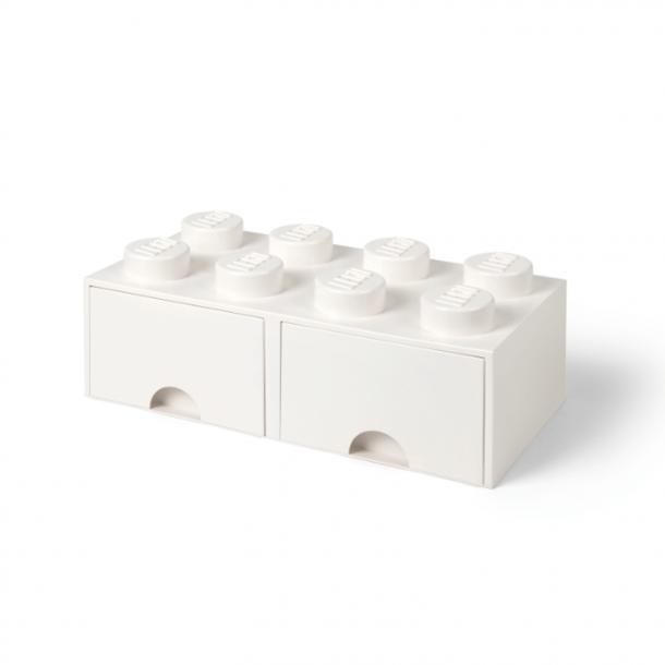 Lego Opbevaringsklods Med 2 Skuffer 8 White
