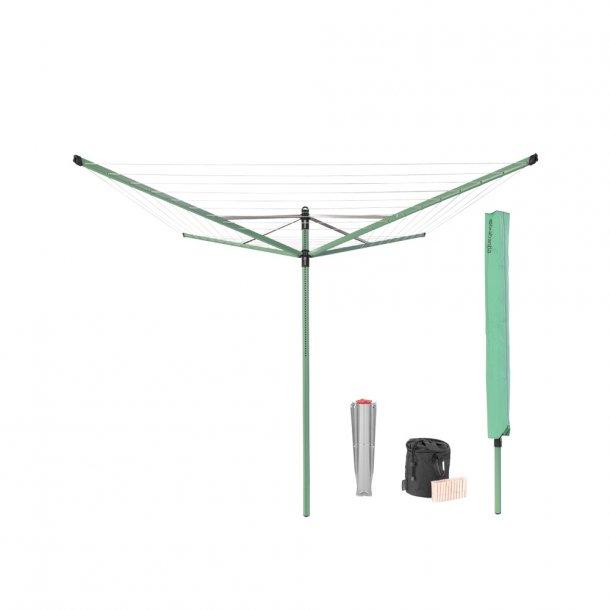 Brabantia Tørrestativ Lift-O-Matic 50 mtr.  m/overtræk, tøjklemmepose og tøjklemmer - Leaf Green