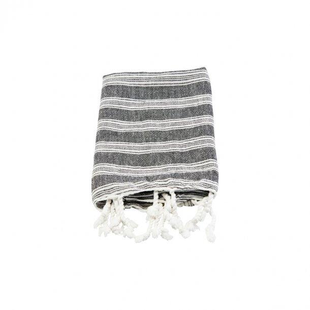 Meraki Hammam Håndklæde Towel 45 x 90 cm - Sort /Hvid