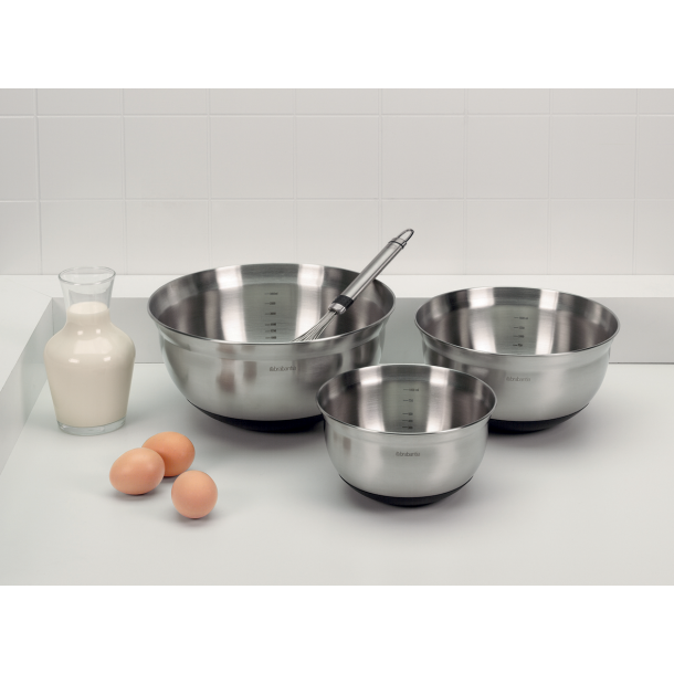 Brabantia Mixing Bowls Set 1, 1.6 and 3 Liter