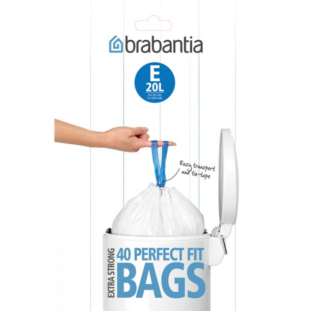 Brabantia Waste bag 20 liter dispenser 40 pc White
