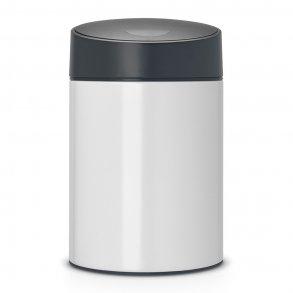 Brabantia Slide Affaldsspand 5 Liter - Hvid Med Gråt Låg - Væghængt