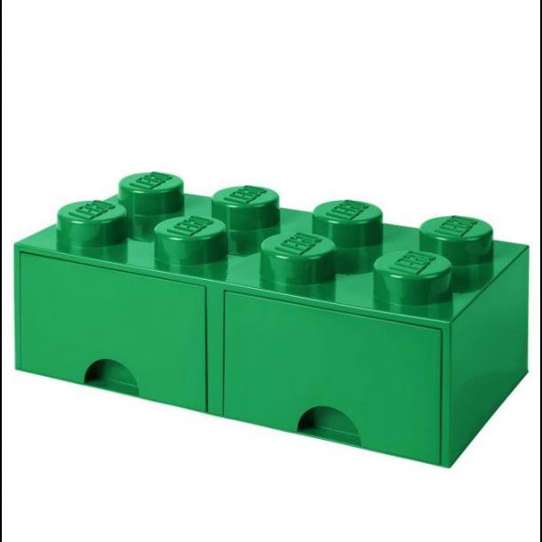 Lego Opbevaringsklods Med 2 Skuffer 8 Dark Green
