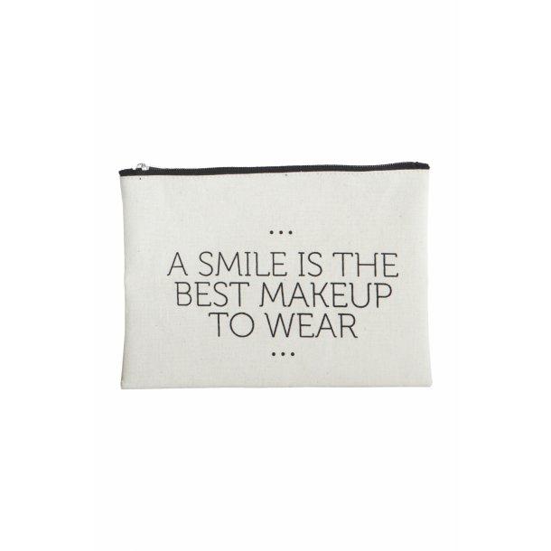 House Doctor Makeup taske, Smile, 21x15 cm