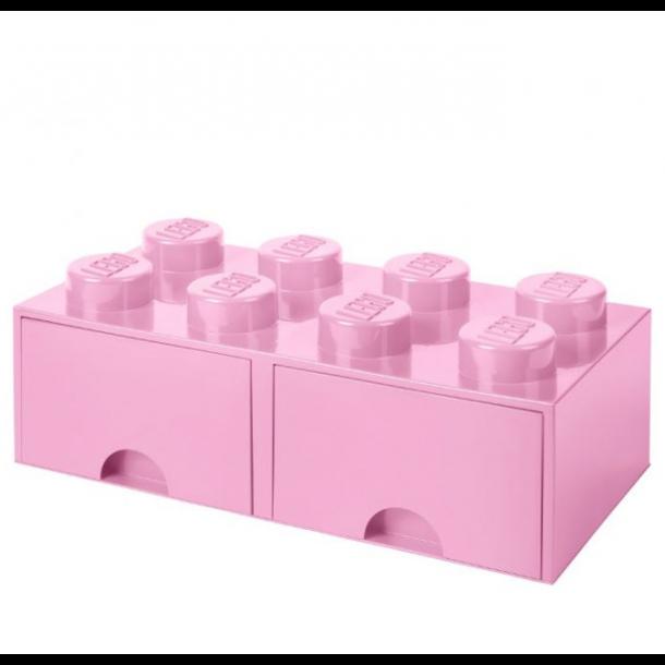 Lego Drawer Storage Box With 2 Drawer 8 Lyserød