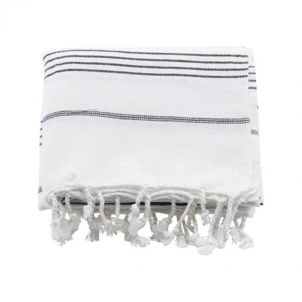 Meraki Hammam Towel Håndklæde 100 x 180 cm - Hvid med Sort stribe