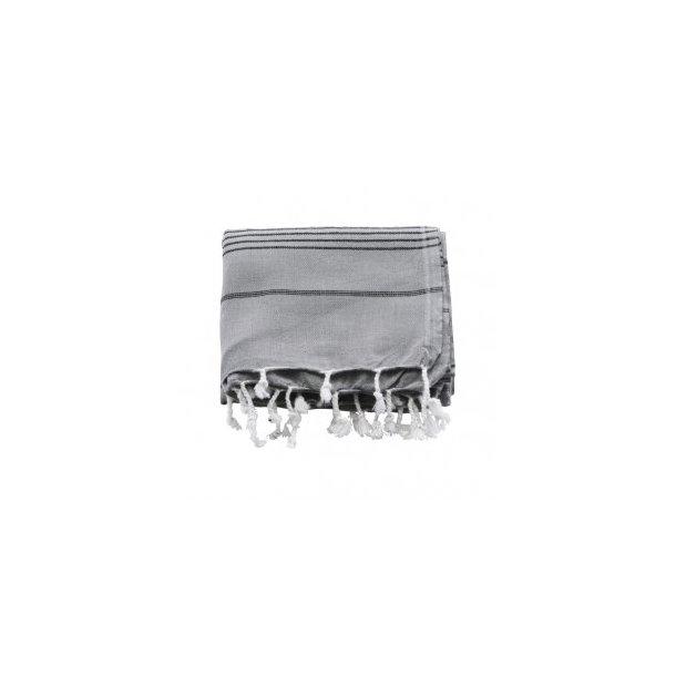 Meraki Hammam Towel Håndklæde 100 X 180 cm - Grå / Sort