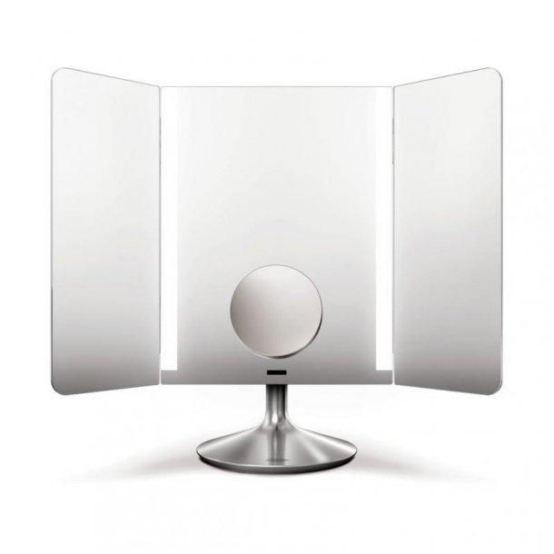 Simplehuman Trefløjet Spejl Med Lys Og Sensor