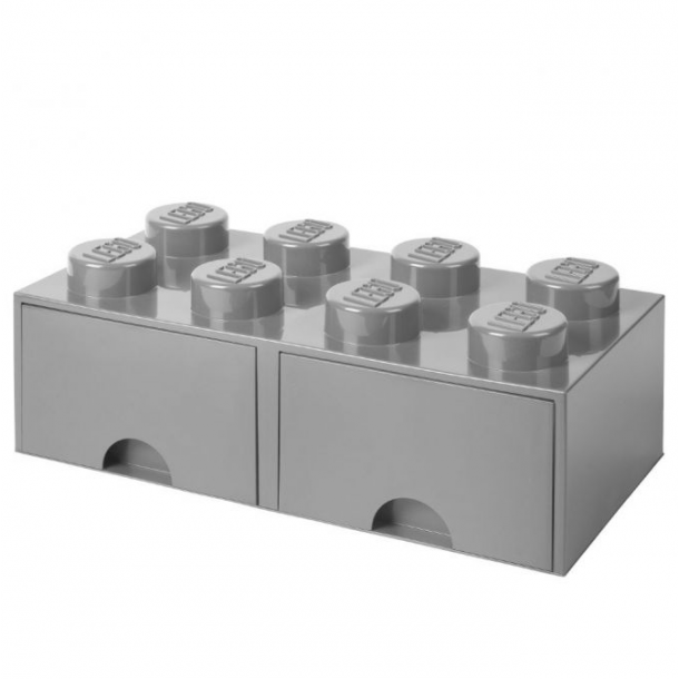 Lego Skuffe Opbevaringsklods Med 2 Skuffer 8 Medium Stone Grey